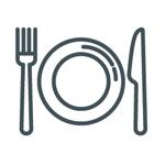 jadłospis, talerz i sztućce