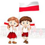 dwoje dzieci z polską flagą